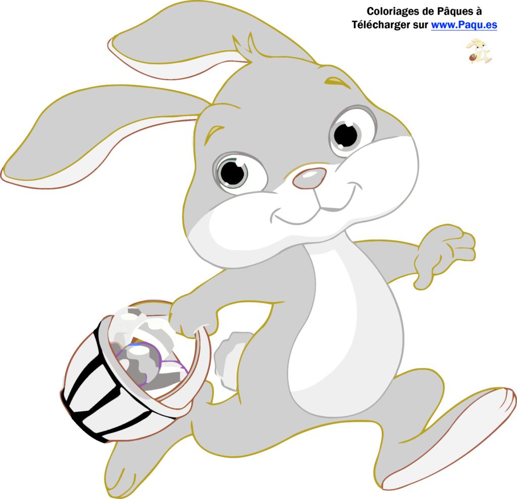 coloriage de lapin de paques